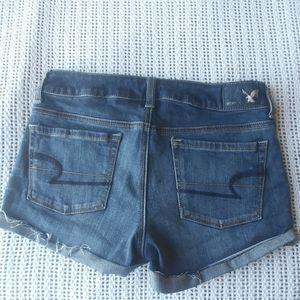 AEO Denim X Distressed Cuff Shortie Dark Shorts